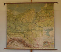 Schulwandkarte Nordost-Deutschland 185x178~1910 vintage Eastern Germany wall map
