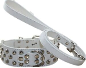 """2"""" Leather Spiked Studded Dog Collar Leash set for Pit Bull Husky Terrier S-XL"""