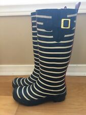 Joules Womens 38 US 7 Tall Welly Rain Boots Navy Stripe As Is