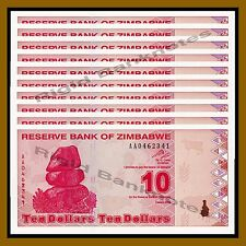 Zimbabwe 10 Dollars x 10 Pcs, 2009 P-94 Revised Trillion Unc