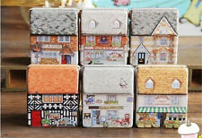 HOT  dream Vintage House Tinplate Storage Tin Box Coin Bag Jewelry Box Creative