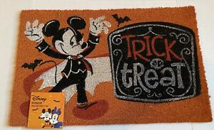 """Disney Mickey Mouse Halloween Door Mat Coir 18×28"""" Trick Or Treat Vampire New"""