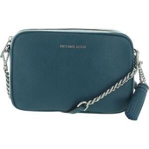 MICHAEL Michael Kors Womens Ginny Blue Clutch Crossbody Handbag Medium BHFO 2300