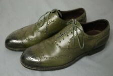 Mens BOTTEGA VENETA dark green wingtip derby dress shoes - GORGEOUS! 40 / US 7 D