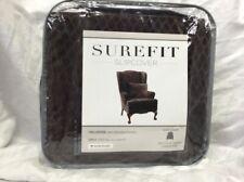 Surefit Stretch Royal Diamond Wing Chair Chocolate Slipcover  NIP