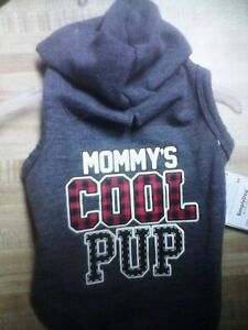 """Puppy Hoodie, Size XS - Gray with """"MOMMY'S COOL PUP"""" on it by SimplyDog, NWT"""