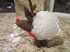 Vintage Christmas Wool Puff Reindeer Lamb Ornament Decoration
