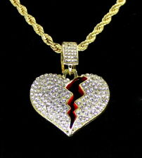 "Icy Broken Heart Pendant 14k Gold Plated 24"" Rope Hip Hop Men Women Necklace"