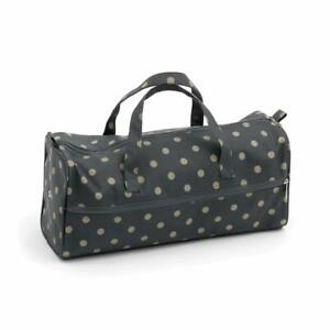 HobbyGift Knitting Bag Sewing Yarn Storage - Matt PVC: Charcoal Polka Dot Design