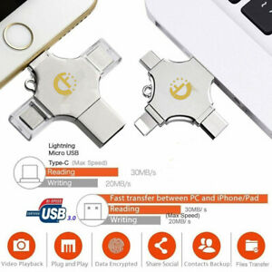 New 4 in 1 Adapter Type C Flash  Drive Memory Stick For iPhone Android  iPod PC