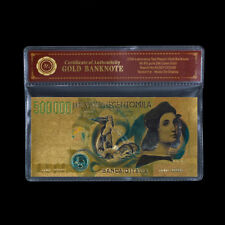WR Italy 500000 Lire Gold Banknote Colored 24K Gold Italy Paper Money Collection