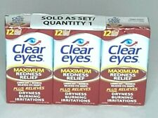 Clear Eyes Maximum Redness Relief Eye Drops 0.5 oz each (Pack of 3) Exp 10/21
