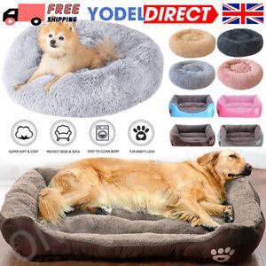 Pet Dog Cat Calming Beds Comfy Shag Warm Fluffy Nest Mattress Donut Pad Beds UK