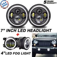 For Jeep Wrangler JK 2007-2018 Halo LED Headlight + Halo LED DRL Fog Light Combo