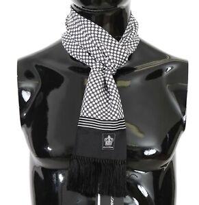 DOLCE & GABBANA Scarf Black White Dot Print Crown Silk Shawl 16cmx140cm RRP $300