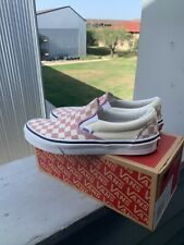 VANS Classic Slip On Zephyr Pink Checkered Canvas Skate Shoes Women's 7.5