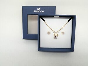"Authentic Swarovski ""ATTRACT"" Crystal Pendant and Earring Gold Finish New in Box"