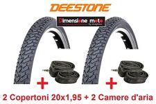 """2 Copertoni DEESTONE 20x1,95 D-805 Nero Strad. + 2 Camere per Bici 20"""" Graziella"""