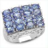 3.11 ctw Tanzanite Ring Sterling Silver Sz 7