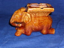 Vintage Brown Glazed Ceramic ELEPHANT ASHTRAY Figurine