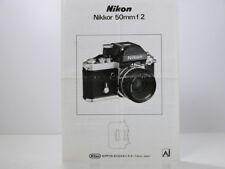 NIKON Nikkor 50mm f/2  Lens Operation Guide