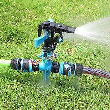 360°Rotary Impulse Spike Water Watering Sprinkler Sprayer Lawn Garden Yard Grass