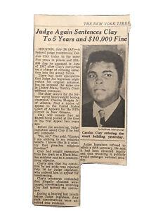 Cassius Clay Sentenced Muhammad Ali Original 1969 Newspaper Clipping Vietnam War