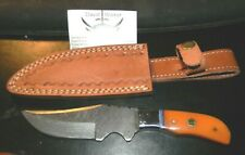 Damascus Steel  Hand Forged Knife in Leather Sheath (by David Walker)