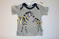 Bebe by minihaha Brand Grey Zebra Short Tee Size 0 BNWT #BABY2