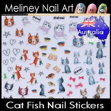 Cat Fish Paw Print Kitten Cartoon Nail Art Stickers decoration Craft Supplies