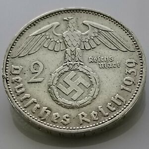 German 2 Reichsmark (1939 J) 0.625 silver coin Third Reich WW2