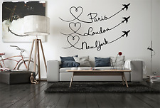 Paris London New York Travel Quote  Quote Wall Decal Sticker Home NQ29