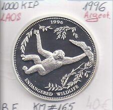LAOS - 1 000 KIP - 1996 - Pièce COMMEMORATIVE en ARGENT // Qualité: BE (Singe)