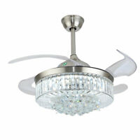 """42"""" Crystal Ceiling Fan Light LED Invisible Blade Chandelier Lamp w/ Remote USA"""