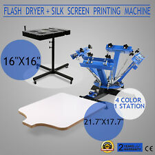 "4 Color 1 Station Silk Screen Printing Kit Machine Flash Dryer 16"" X 16"" Drying"
