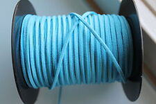 10 METERS AZURE BLUE COLOUR SUEDE LEATHER CORD