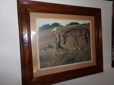 Jim Daly 1979 Framed Print Headed Home Boy & Horse Lithograph 17.5 x 20.5 EXC