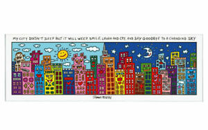 Goebel Rizzi Magnetic Board Glass My City Not Sleep New/Boxed Colourful Design