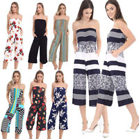 Ladies Printed Strapless Culottes Jumpsuit Beach Summer Party Playsuit Plus Size