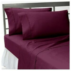 Attached Waterbed Sheet Set - Soft Egyptian Cotton 1000 TC Wine Solid