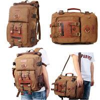 Men Women Canvas Backpack Shoulder Bag Hiking Travel Satchel Laptop Tote Bags AU