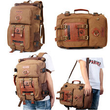 Men Women Canvas Backpack Shoulder Bag Hiking Travel Satchel Laptop Tote Bags AU