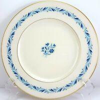 "Lenox Blueridge Luncheon Plate Ivory Blue Floral Scrolls Gold Trim 9-1/8"""