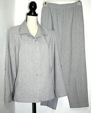 Allison Daley Womens 10 Petite Light Gray Pant Suit Jacket w/ Fold Up Cuffs
