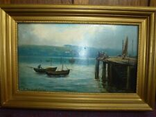 Antique Gold Frame Whitby Oil Painting Art Seascape 1919 Henry Hadfield Cubley