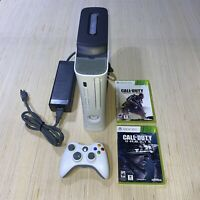 Microsoft XBOX 360 120GB White Console w/ Power Cable, Controller & Call of Duty