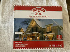 Holiday Time 300 Clear Icicle Lights White Wire 19 Ft Christmas Lights