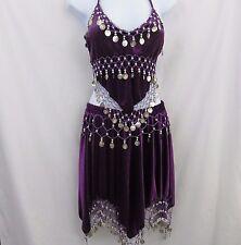 Belly Dance Costume Purple Velvet Halter Bra Top Hip Skirt Silver Top Dancer EUC
