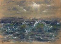 Original painting Pastel Ocean Waves Seascape pastels Art EAEH American Artist