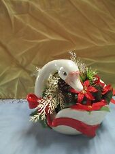 Fitz Floyd Goose Swan Handle planter / Bowl White Red Bow Holly